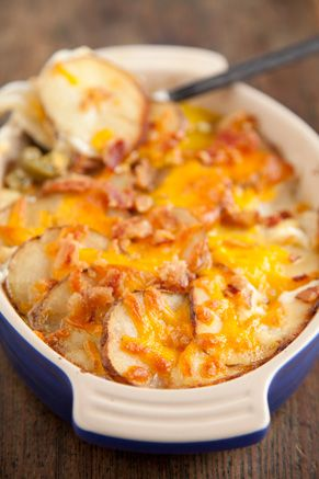 potato casserole with bacon, sour cream, bell pepper, and cheddar cheese