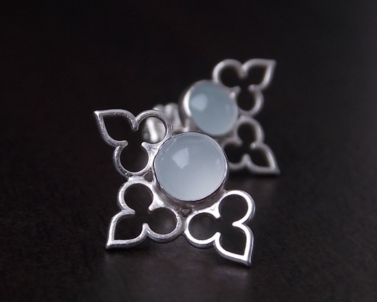 Moroccan Lace Post Earrings - Aquamarine, Sterling Silver. via Etsy.