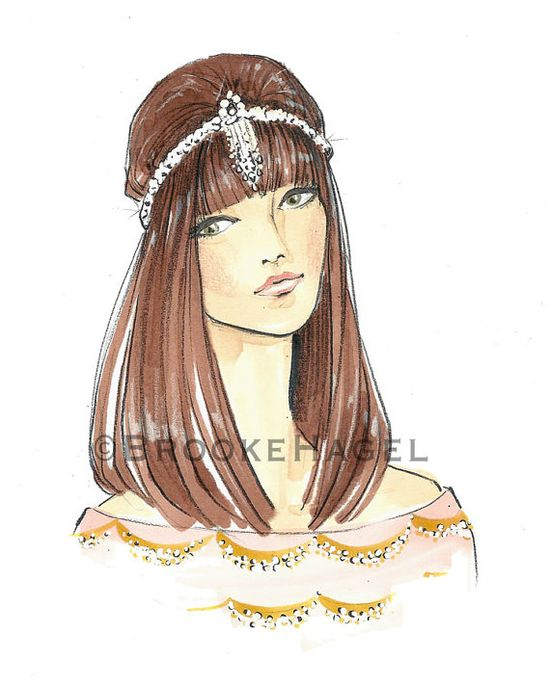 """Hazel"" Fashion Illustration by Brooke Hagel @Brooke Baird Hagel on Etsy"