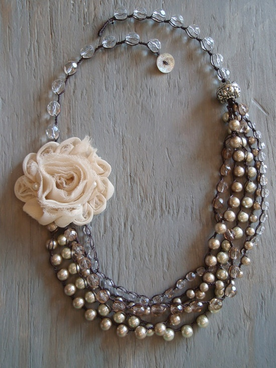 multi layered pearl necklace with fabric flower