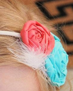 CORAL IN BLOOM Handmade headband Coral & Aqua by FinnsFeathers, $9.99