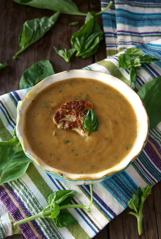 Post image for Roasted Cauliflower Basil Soup Recipe