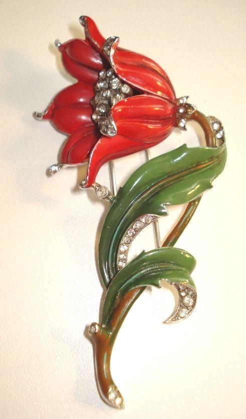 Lovely Trifari Red Enamel Floral Fur Clip