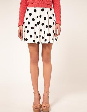 River Island Cream Spot Skater Skirt