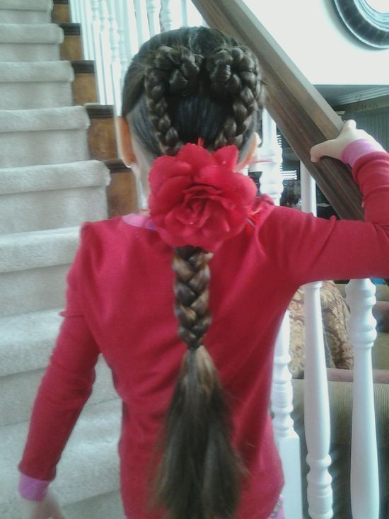 Cute little girl hairstyle - braided heart Valentines Day hair