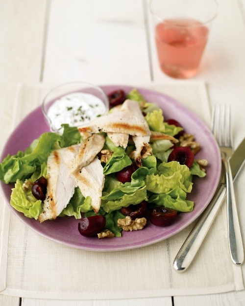 perfect july #salad: seared-chicken salad with cherries and goat cheese. Martha Stewart. #seasonalfoods #antioxidants #protein