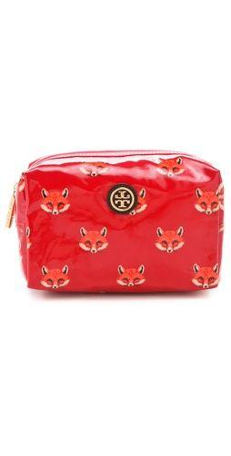 fox printed cosmetics case / tory burch