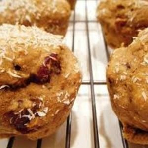 Sweet Potato, Cranberry, Coconut Muffins