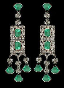 Art deco emerald diamond