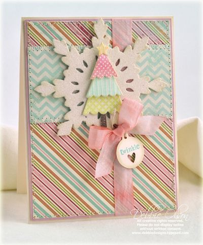 Sweet, girly, lovely winter card done up in pastel hues. #winter #Christmas #card #scrapbooking #handmade #pastel #pink #paper_crafting