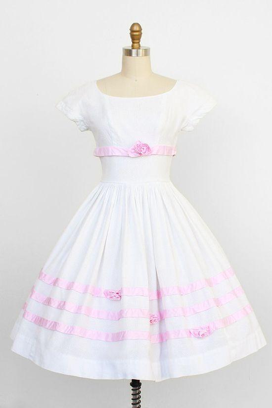 vintage 1950s dress / 1950s wedding dress / White by RococoVintage, $236.00