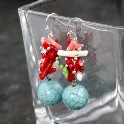 Coral Shell Turquoise Earrings