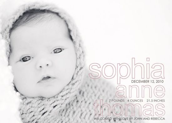 Birth Announcement. Love how soft it is!