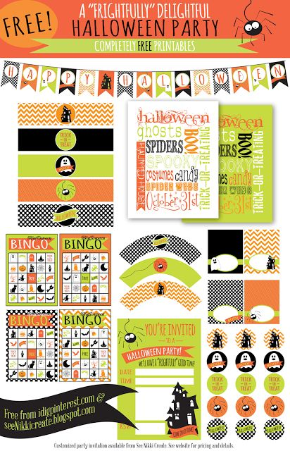 FREE Halloween party printable set.
