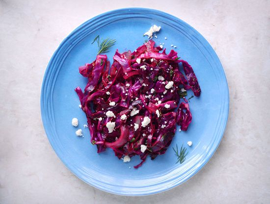 Wilted Red Cabbage with Mint & Feta... good way to use up a head of cabbage, can never seem to do it