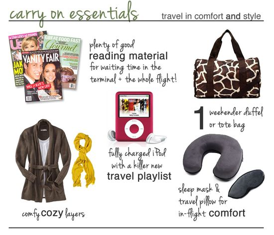 what to pack in your carry on bag. perfect for flying! ...or taking trains & buses too :)