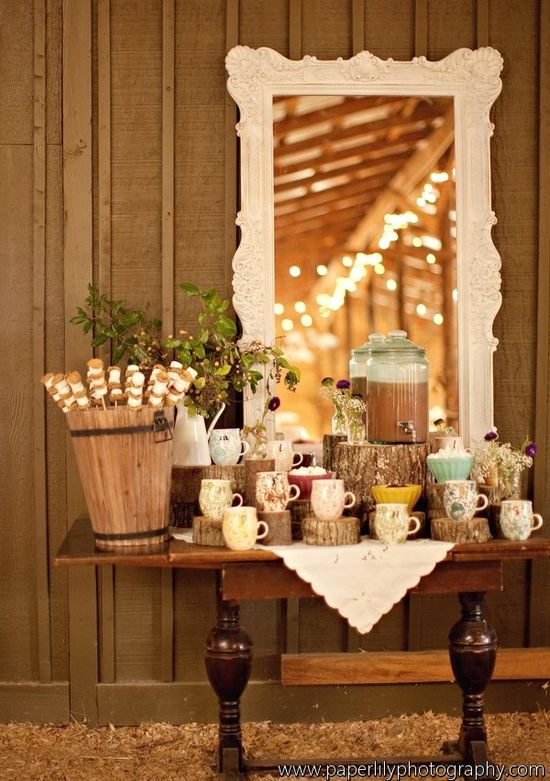 So obsessed with the idea of a Christmas party with a hot chocolate bar.  I really like the mirror reflecting twinkle lights.