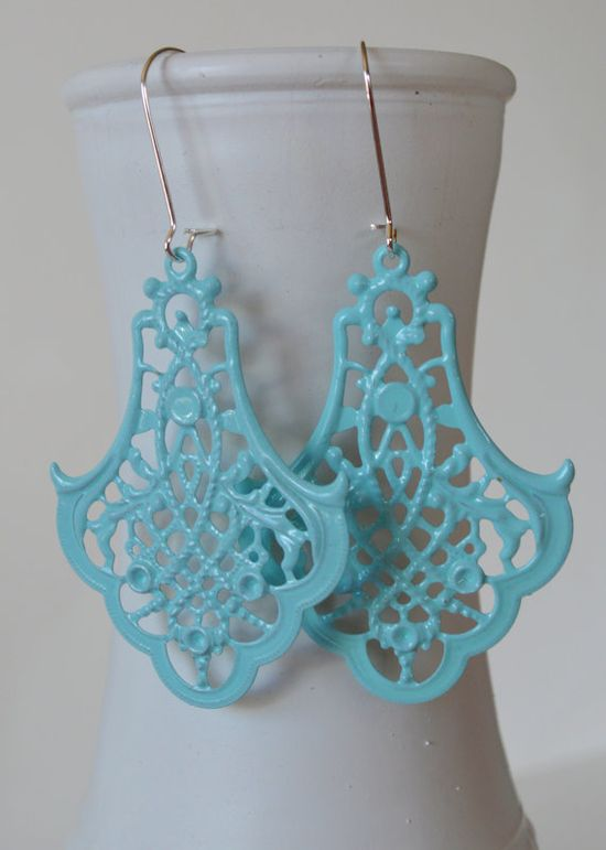 Tiffany Blue Earrings, Fancy Filigree Earrings, Boho Earrings, Statement Earrings, Fall Earrings, Bohemian Earrings, Hippie Earrings