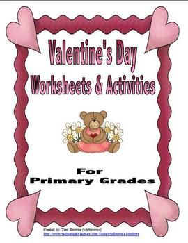 Valentine's Day Worksheets and Activities for Primary Grades $