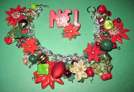 Christmas Jewelry Charm Bracelet Poinsettia Wreath Holly by Jynxx, $35.00