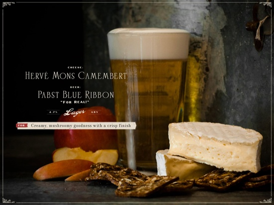 BEER & CHEESE PAIRING! Hervé Mons Camembert with Pabst Blue Ribbon (for real!)... For creamy, mushroomy goodness with a crisp finish. #DarkRye