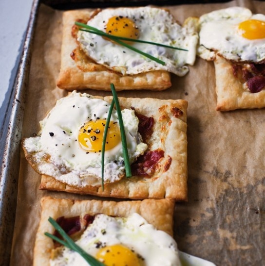 bacon-and-egg breakfast tarts.