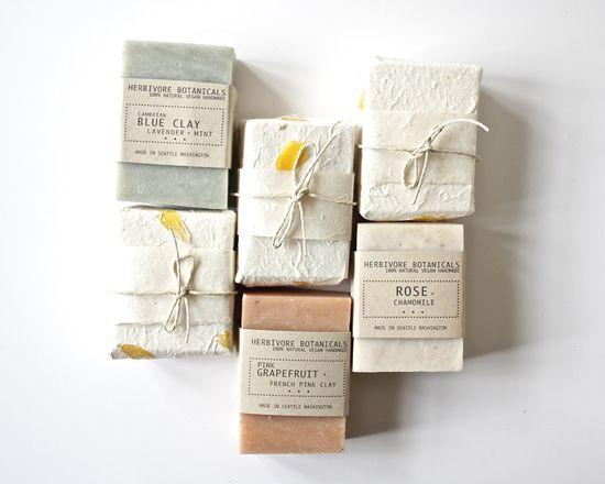 Beautiful natural handmade paper soap packaging