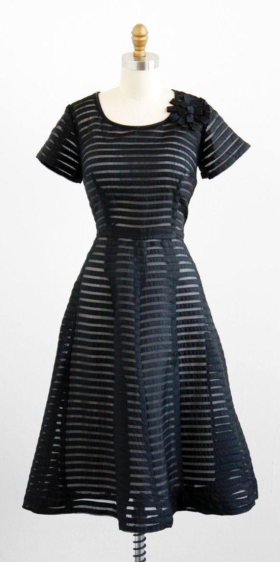 vintage 1950s sheer black on black stripes party dress