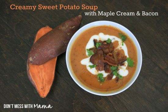 Creamy Sweet Potato Soup with Maple Cream and Bacon (Gluten Free)