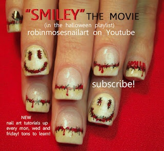 Nail-art by Robin Moses: night of the living dead nail art, zombie nail art, smiley the movie nail art, horror film nail art, scary nail art, halloween nail art, horror film nail art, ghost nail art, robinmosesnailart, totallysketch nail art, shane dawson nail art, smiley the movie, smiley movie october 11, 50 shades of grey nails, french manicure in flesh, ripping flesh,