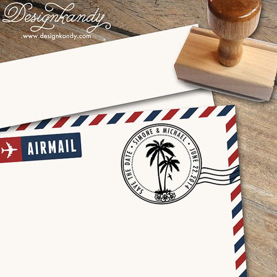 Circular Palm Tree Address Stamp or Save the Date by Designkandy, $23.00