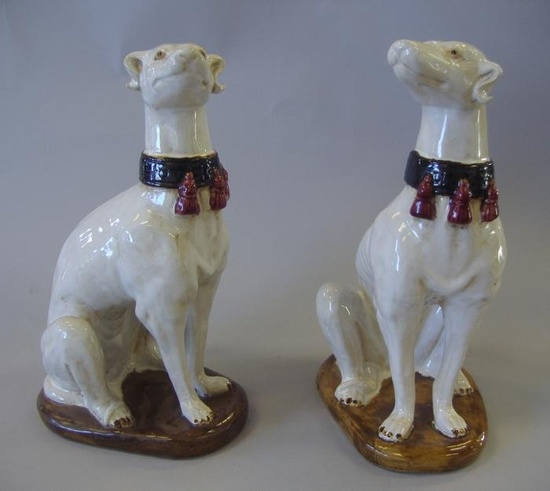 Pair of 19thc Majolica Standing Whippets