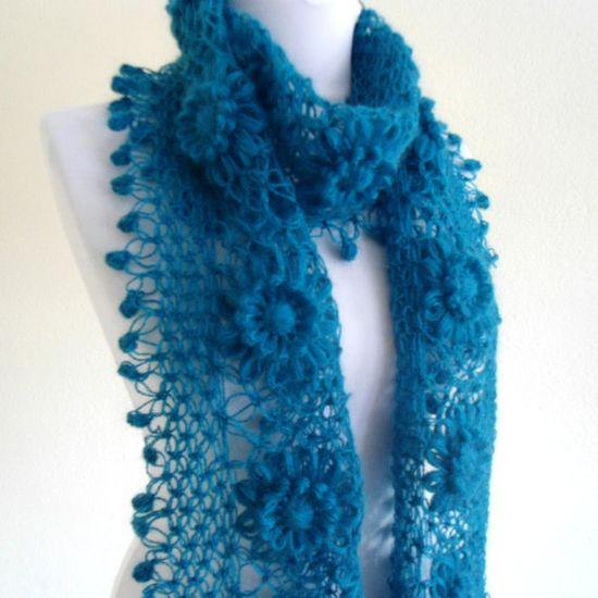 Turquoise crochet scarf crochet flower scarf by likeknitting, $39.99