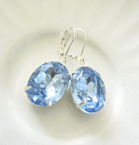 Sapphire Earrings Estate Style Silver by RachellesJewelryBox