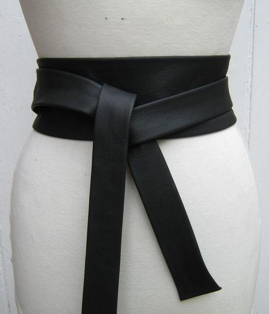 Black leather narrow obi wrap belt by elizabethkelly on Etsy, $55.00