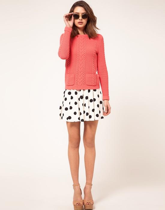 b/w polka dot skirt