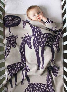 Personalized giraffe baby blanket (by Noohn).