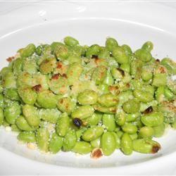 Crispy Edamame -  frozen edamame, olive oil, parmesan cheese, salt and pepper...baked at 400 for 15 mins.  Sounds addictive.