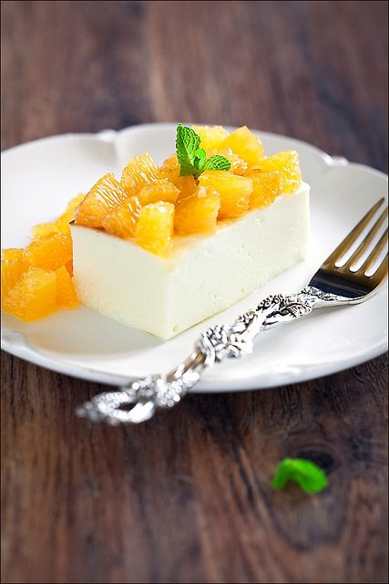 Beautiful fruit topped Cream Cheese Pudding.  #food #cooking #meals #baking #desserts #pudding #white #orange #creamcheese