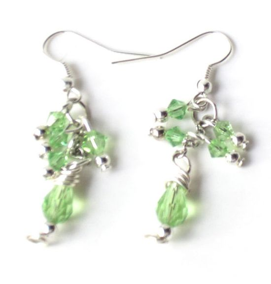 Peridot Green Earrings Swarovski Earrings by lindab142 on Etsy, $10.75