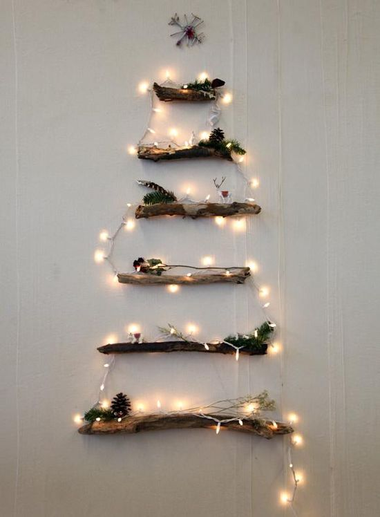 DIY Lighted Christmas Tree Using Branches