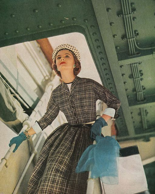 All aboard the SS Ultra Stylish! #vintage #1950s #fashion #plaid #ship #travel