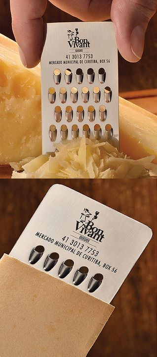 A cheese shop has a cheese grater business card.