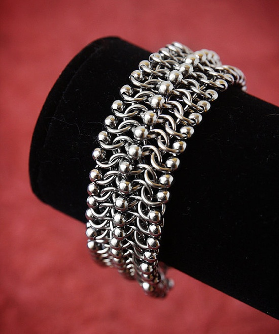 Chainmaille Cuff Bracelet beaded stainless steel by SpitfireMaille, $65.00