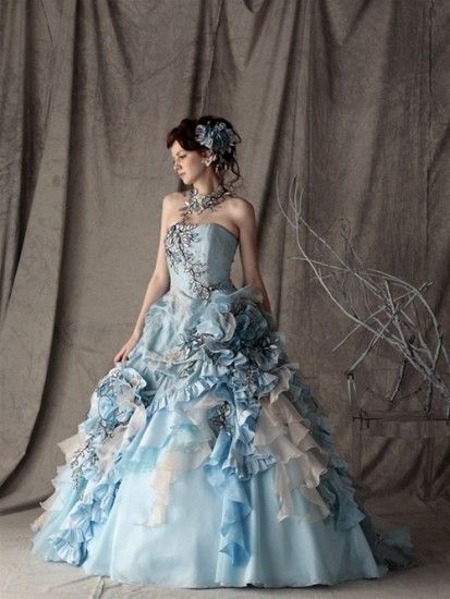 blue and white dress ball gown