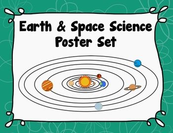 Earth & Space Science Poster Set - Planets - Eclipse - Tides - Seasons - Phases of the Moon - Shadows - Asteroids - Comets - Day & Night, $