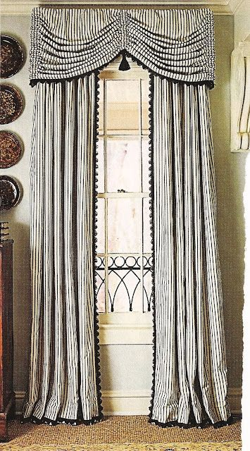 Valance and panel trim--thin stripes accent design
