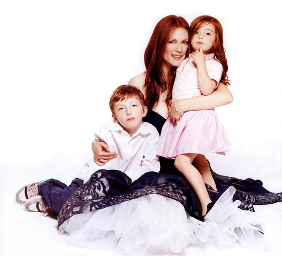 Julianne Moore with her son Caleb & daughter Liv - Bazaar by Peter Lindbergh, January 2006