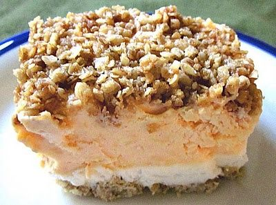 Frozen peaches and cream crisp. Can be made gluten free.