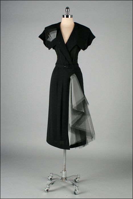 1940s black rayon dress with tulle swag.